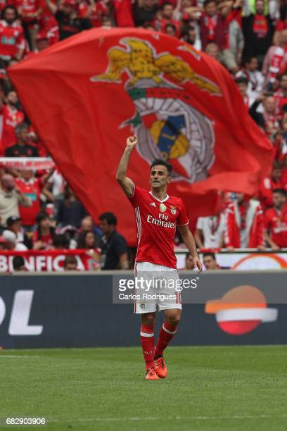 Benfica's forward Jonas from Brasil celebrate scoring Benfica fourth goal during the match between SL Benfica and Vitoria SC for the Portuguese...