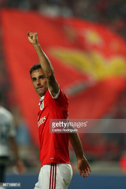 Benfica's forward Jonas from Brasil celebrates scoring Benfica first goal during the match between SL Benfica and CD Feirense for the round 10 of the...