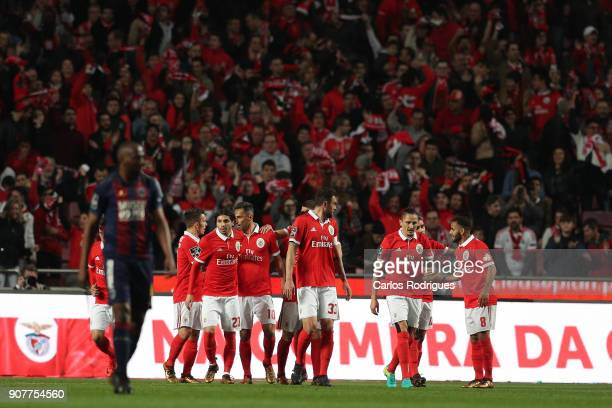 Benfica's forward Jonas from Brasil celebrates scoring Benfica first goal with his team mates during the match between SL Benfica and GD Chaves for...