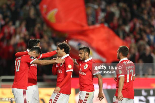 Benfica's forward Jonas from Brasil celebrates scoring Benfica fourth goal with his team mates during the match between SL Benfica and FC Vitoria...