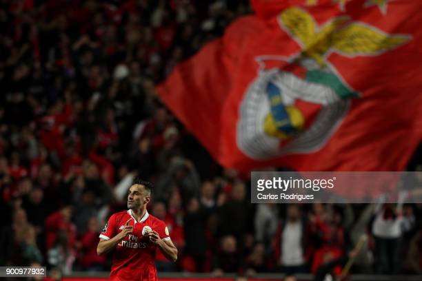 Benfica's forward Jonas from Brasil celebrates scoring Benfica goal during the match between SL Benfica and Sporting CP for the Portuguese Primeira...