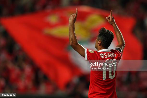 Benfica's forward Jonas from Brasil celebrates scoring Benfica second goal during the match between SL Benfica and FC Paco de Ferreira for the round...