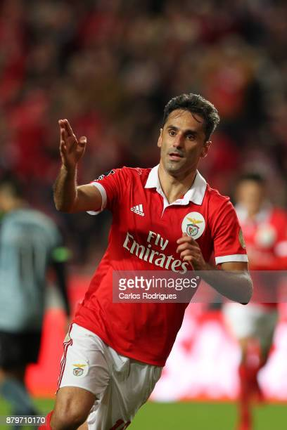 Benfica's forward Jonas from Brasil celebrates scoring Benfica second goal during the match between SL Benfica and FC Vitoria Setubal for the...