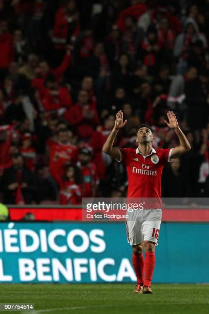 Benfica's forward Jonas from Brasil celebrates scoring Benfica second goal during the match between SL Benfica and GD Chaves for the Portuguese...