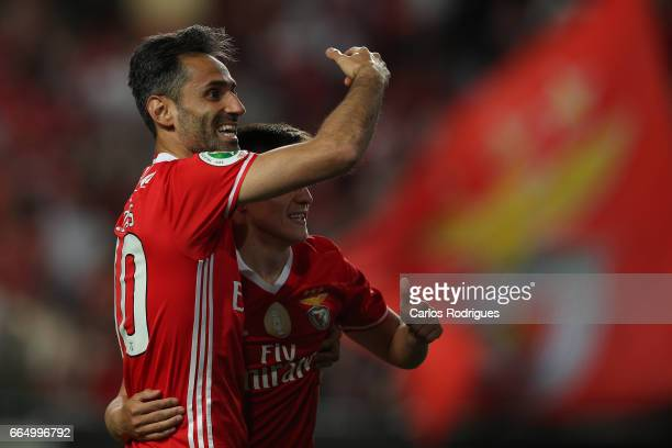 Benfica's forward Jonas from Brasil celebrates scoring Benfica third goal with Benfica's midfielder Franco Cervi from Argentina during the match...