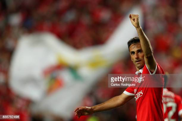 Benfica's forward Jonas from Brasil celebrates scoring Benfica's fifth goal during the match between SL Benfica and CF Belenenses for the third round...