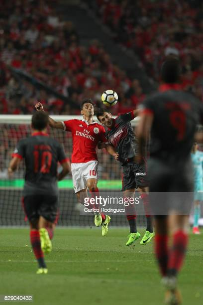 Benfica's forward Jonas from Brasil vies with Braga defender Lazar Rosic from Serbia during the match between SL Benfica and SC Braga for the fruit...