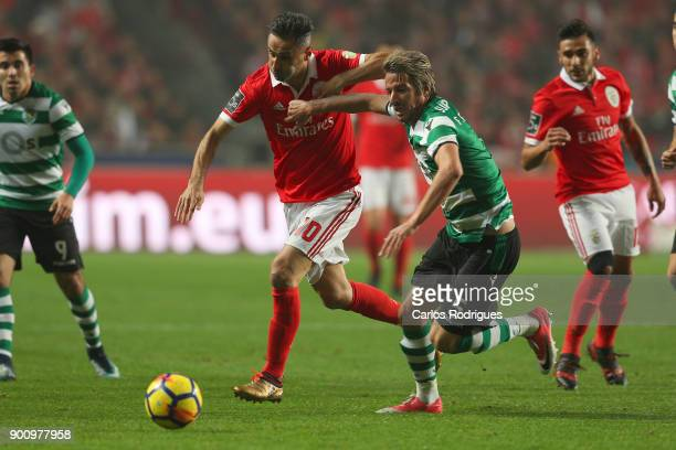 Benfica's forward Jonas from Brasil vies with Sporting CP defender Fabio Coentrao from Portugal for the ball possession during the match between SL...