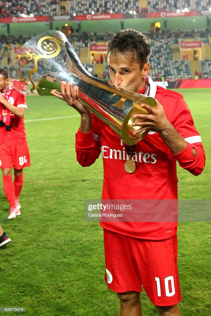 Benfica's forward Jonas from Brasil with Portuguese Super Cup trophy after the match between SL Benfica and VSC Guimaraes at Estadio Municipal de Aveiro on August 05, 2017 in Lisbon, Portugal.