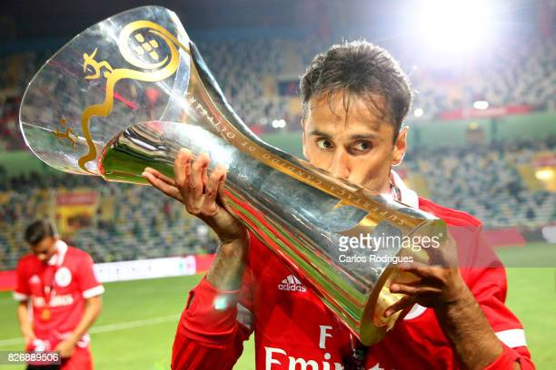 Benfica's forward Jonas from Brasil with Portuguese Super Cup trophy after the match between SL Benfica and VSC Guimaraes at Estadio Municipal de...