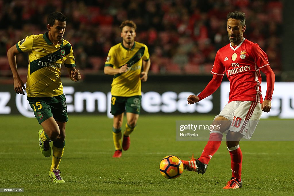 Benficas forward Jonas from Brazil (R) and Pacos Ferreiras midfielder Mateus Silva from Brazil (L) during the Portuguese Cup 2016/17 match between SL Benfica v FC Pacos Ferreira, at Luz Stadium in Lisbon on December 29, 2016.