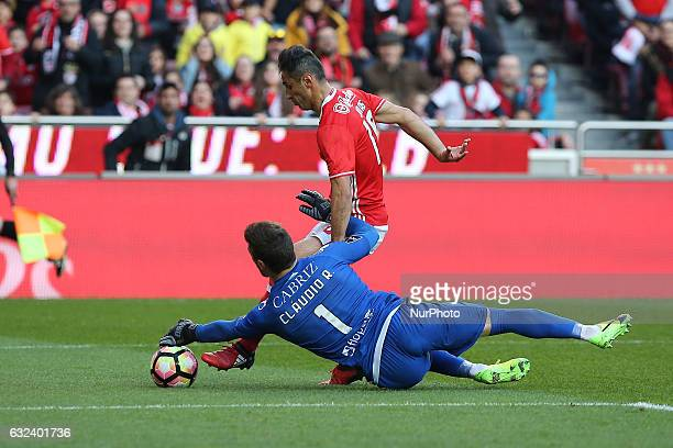 Benficas forward Jonas from Brazil and Tondela's goalkeeper Claudio Ramos from Portugal during the Premier League 2016/17 match between SL Benfica v...