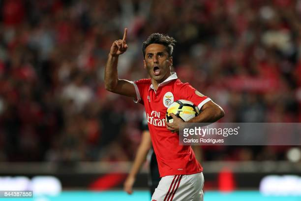 Benfica's forward Jonas from Brazil celebrates scoring Benfica first goal during the match between SL Benfica and Portimonense SC for the round five...