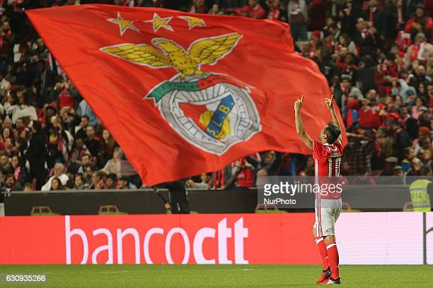 Benficas forward Jonas from Brazil celebrating after scoring a goal during the Portuguese Cup 2016/17 match between SL Benfica v FC Vizela at Luz...