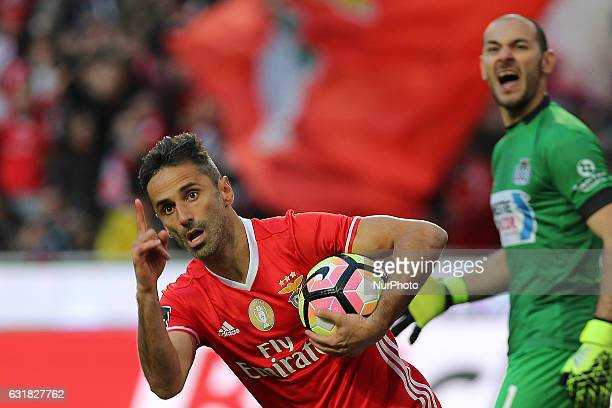 Benficas forward Jonas from Brazil celebrating after scoring a goal during the Premier League 2016/17 match between SL Benfica v Boavista FC at Luz...