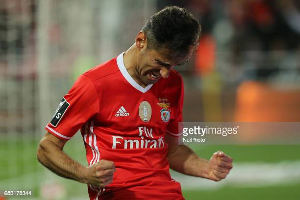 Benficas forward Jonas from Brazil celebrating after scoring a goal during the Premier League 2016/17 match between SL Benfica v Os Belenenses at Luz...