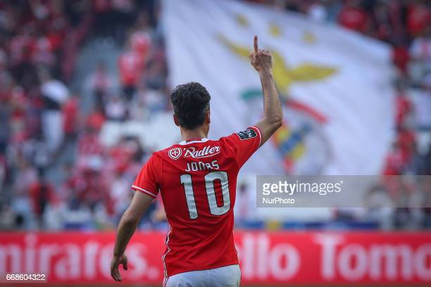 Benficas forward Jonas from Brazil celebrating after scoring a goal during the Premier League 2016/17 match between SL Benfica v Maritimo M at Luz...