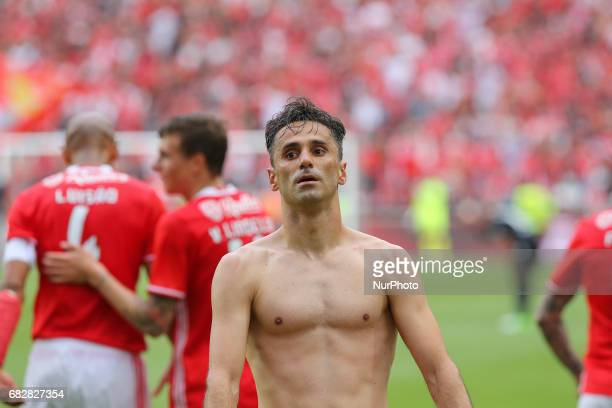 Benficas forward Jonas from Brazil celebrating after scoring a goal during the Premier League 2016/17 match between SL Benfica v Vitoria Guimaraes at...