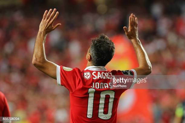 Benficas forward Jonas from Brazil celebrating after scoring a goal during the Premier League 2017/18 match between SL Benfica v CF Belenenses at Luz...