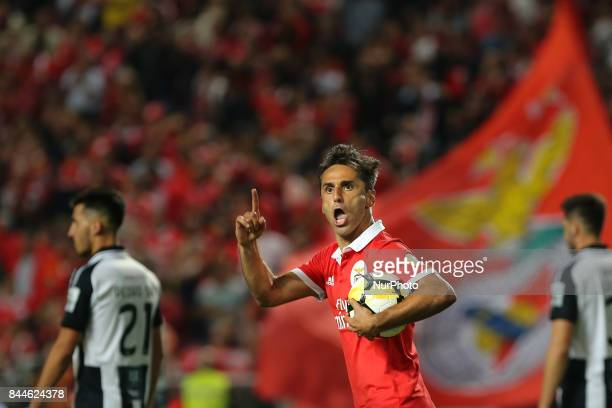 Benficas forward Jonas from Brazil celebrating after scoring a goal during the Premier League 2017/18 match between SL Benfica v Portimonense SC at...