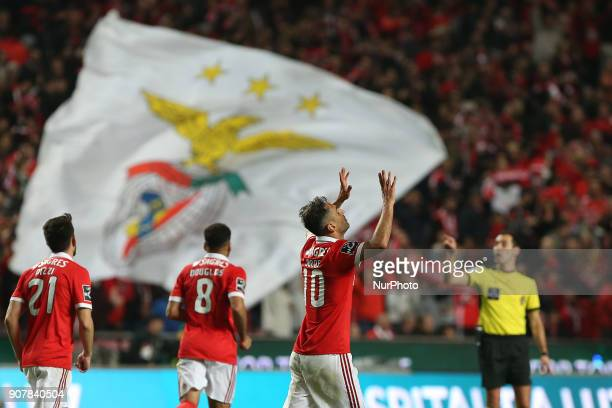 Benficas forward Jonas from Brazil celebrating after scoring a goal during the Premier League 2017/18 match between SL Benfica v GD Chaves at Luz...