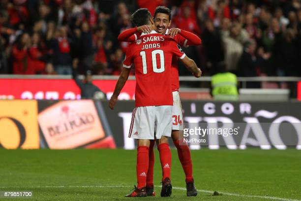 Benficas forward Jonas from Brazil celebrating with Benficas defender Andre Almeida from Portugal after scoring a goal during the Premier League...