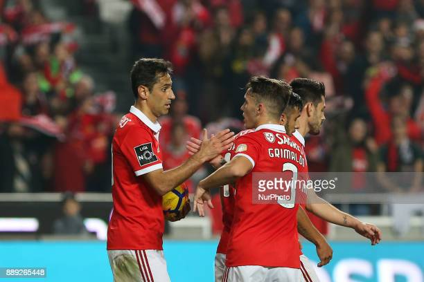 Benficas forward Jonas from Brazil celebrating with Benficas defender Alex Grimaldo from Spain after scoring a goal during the Premier League 2017/18...