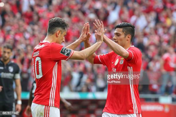 Benficas forward Jonas from Brazil celebrating with Benficas forward Raul Jimenez from Mexico after scoring a goal during the Premier League 2016/17...