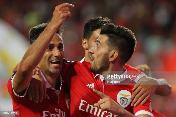 Benficas forward Jonas from Brazil celebrating with Benficas midfielder Pizzi from Portugal after scoring a goal during the Premier League 2017/18...