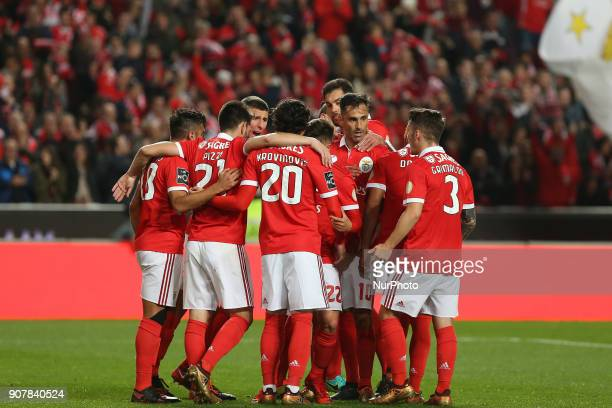 Benficas forward Jonas from Brazil celebrating with is team mate after scoring a goal during the Premier League 2017/18 match between SL Benfica v GD...