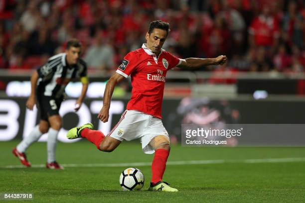 Benfica's forward Jonas from Brazil scores Benfica first goal during the match between SL Benfica and Portimonense SC for the round five of the...