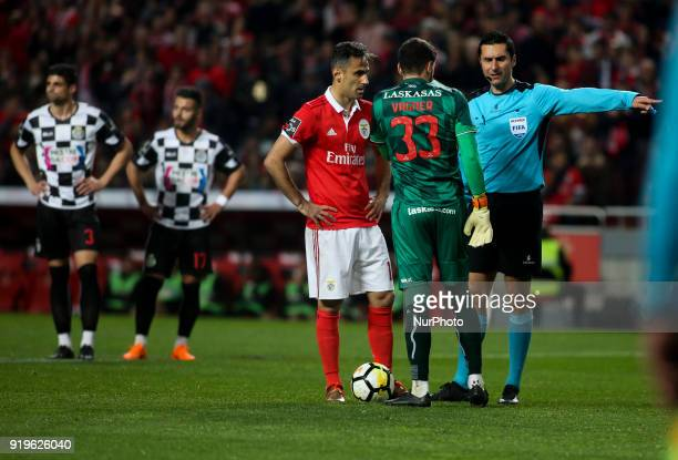 Benfica's forward Jonas next to Boavista's goalkeeper Vagner moments before a penalty kick during the Portuguese League football match between SL...