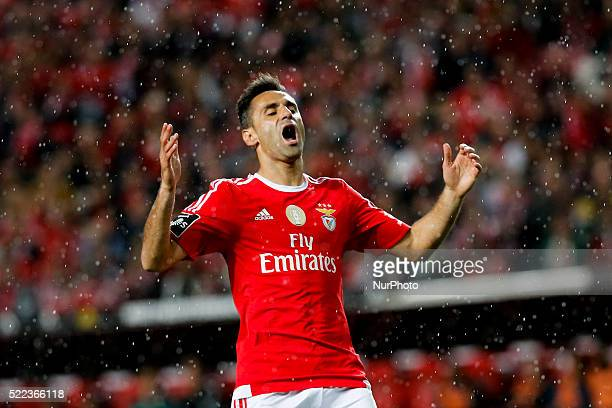 Benfica's forward Jonas reacts during the Portuguese League football match between SL Benfica and Vitoria Setubal at Luz Stadium in Lisbon on April...