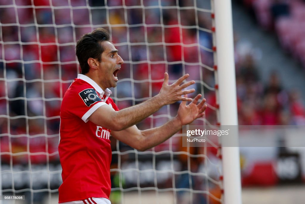 Benfica's forward Jonas reacts during the Portuguese League football match between SL Benfica and Moreirense FC at Luz Stadium in Lisbon on May 13, 2018.