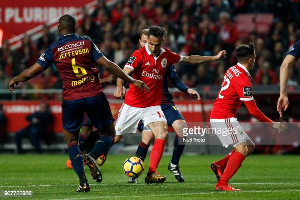 Benfica's forward Jonas shoots the ball to score his side's first goal during Primeira Liga 2017/18 match between SL Benfica vs GD Chaves in Lisbon...