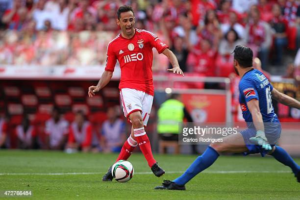 Benfica's forward Jonas tries to pass trough Penafiel's goalkeeper Alireza Haghighi during the Primeira Liga match between SL Benfica and Penafiel FC...