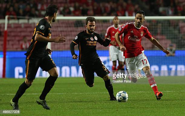 Benfica's forward Jonas with Galatasaray AS midfielder Emre Colak in action during the UEFA Champions League match between SL Benfica and Galatasaray...