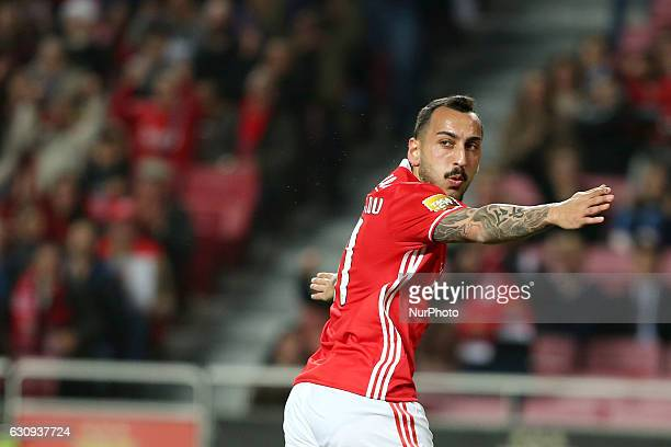 Benfica's forward Kostas Mitroglou celebrates after scoring a goal during the Portuguese League Cup football match SL Benfica vs FC Vizela at the Luz...