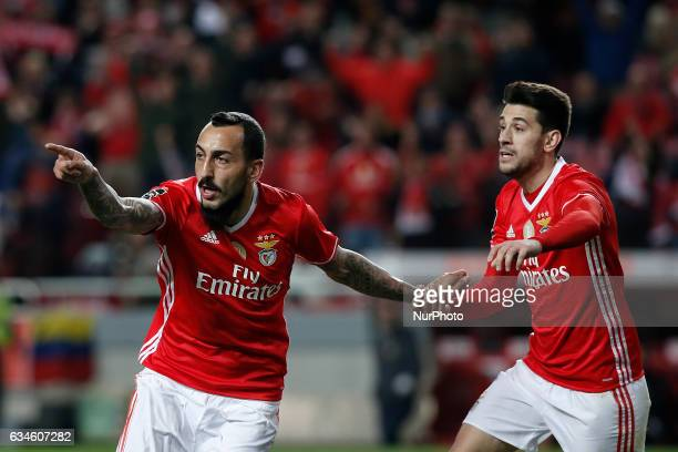 Benfica's forward Kostas Mitroglou celebrates his first goal with Benfica's forward Pizzi during Premier League 2016/17 match between SL Benfica vs...