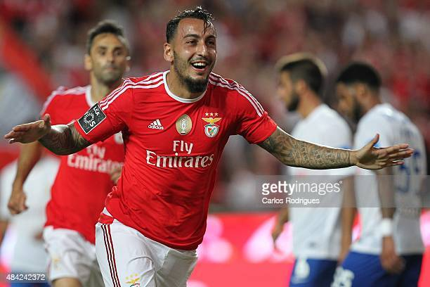 Benfica's forward Kostas Mitroglou celebrates scoring Benfica«s first goal during the match between SL Benfica and Estoril Praia at Estadio da Luz on...