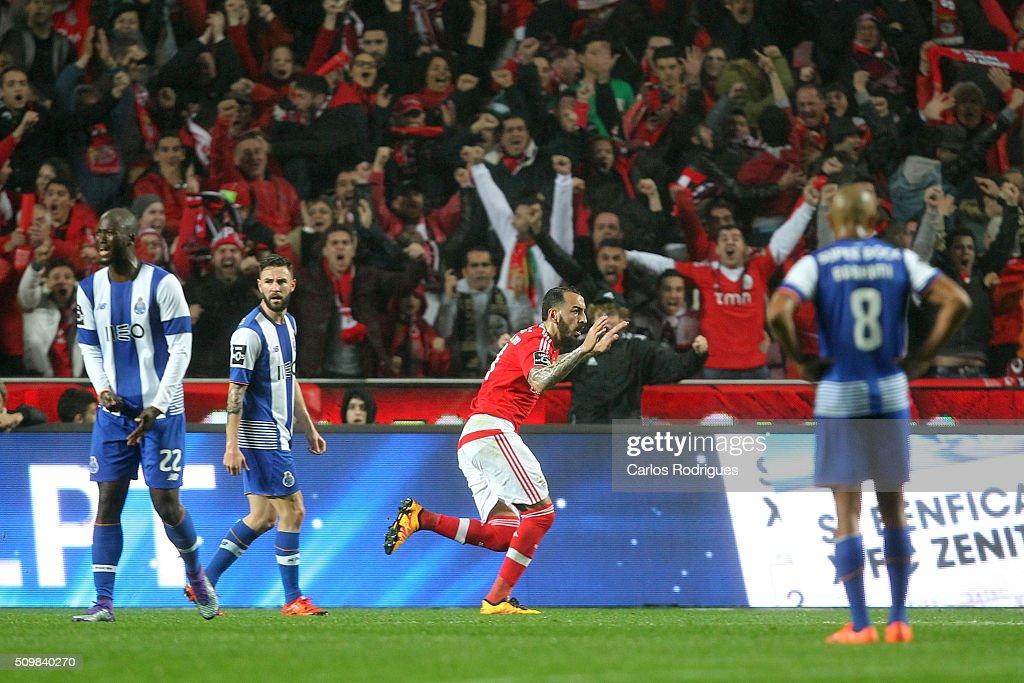 Benfica's forward Kostas Mitroglou celebrates scoring Benfica's goal during the match between SL Benfica and FC Porto for the portuguese Primeira Liga at Estadio da Luz on February 12, 2016 in Lisbon, Portugal.