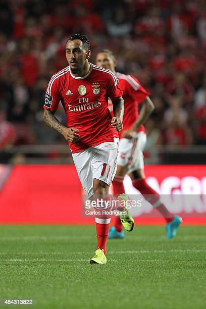 Benfica's forward Kostas Mitroglou during the match between SL Benfica and Estoril Praia at Estadio da Luz on August 16 2015 in Lisbon Portugal