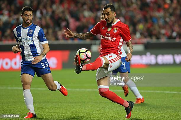 Benficas forward Kostas Mitroglou from Greece and Vizelas defender Joao Sousa from Portugal during the Portuguese Cup 2016/17 match between SL...