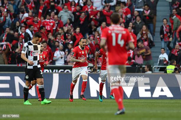 Benfica's forward Kostas Mitroglou from Greece celebrastes scoring Benfica first goal during the match between SL Benfica and Boavista FC for the...