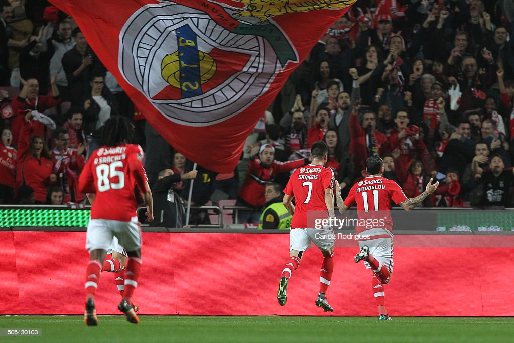 Benfica's forward Kostas Mitroglou from Greece celebrates scoring Benfica«s second goal during the match between SL Benfica and FC Arouca at Estadio da Luz on January 23, 2016 in Lisbon, Portugal.