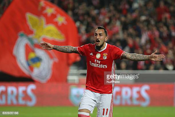 Benficas forward Kostas Mitroglou from Greece celebrating after scoring a goal during the Portuguese Cup 2016/17 match between SL Benfica v FC Vizela...