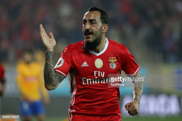 Benficas forward Kostas Mitroglou from Greece celebrating after scoring a goal during Portuguese Cup match between Estoril PS v SL Benfica at Estadio...