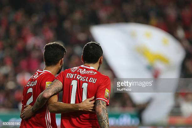 Benficas forward Kostas Mitroglou from Greece celebrating with is team mate after scoring a goal during the Portuguese Cup 2016/17 match between SL...
