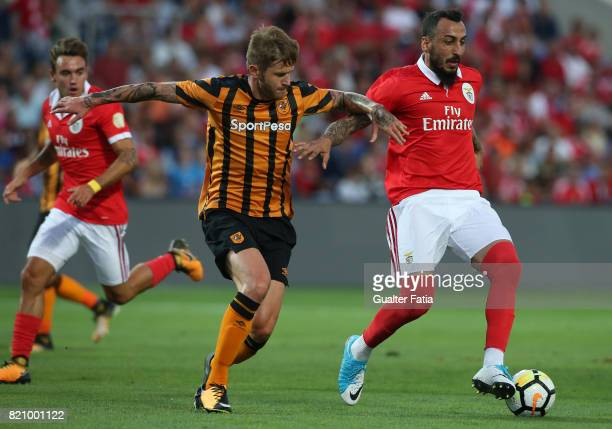 Benfica's forward Kostas Mitroglou from Greece with Hull City defender Ondrej Mazuch in action during the Algarve Cup match between SL Benfica and...