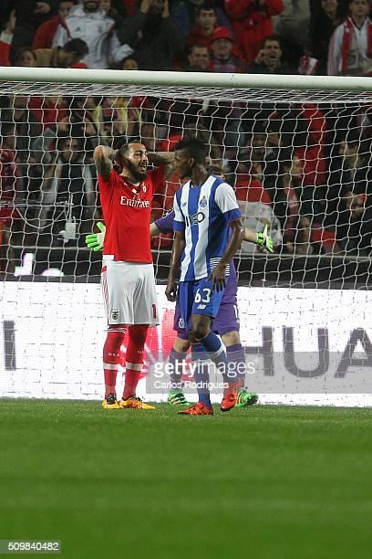 Benfica's forward Kostas Mitroglou reacts during the match between SL Benfica and FC Porto for the portuguese Primeira Liga at Estadio da Luz on...